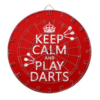 Guarde la calma y el juego lanza (color adaptable) tablero de dardos