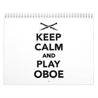 Guarde la calma y el juego Oboe Calendario De Pared
