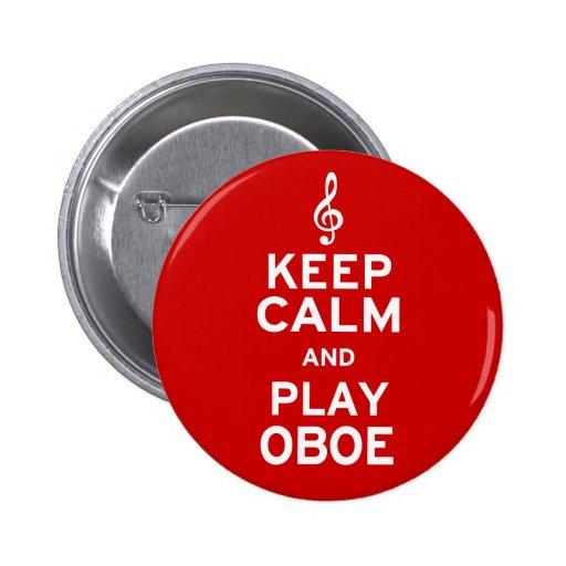 Guarde la calma y el juego Oboe Pin Redondo 5 Cm