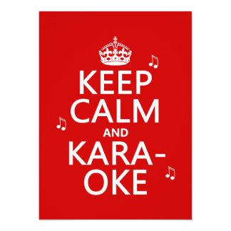"""Guarde la calma y el Karaoke (el color del Invitación 5.5"""" X 7.5"""""""