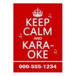 Guarde la calma y el Karaoke (el color del persona Tarjetas De Visita