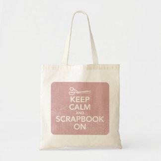Guarde la calma y el libro de recuerdos en el tote bolsa tela barata