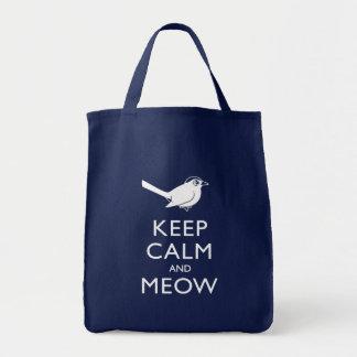 Guarde la calma y el maullido bolsa tela para la compra