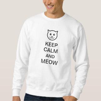 Guarde la calma y el maullido encendido suéter