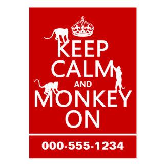 Guarde la calma y el mono encendido - todos los co tarjetas de visita