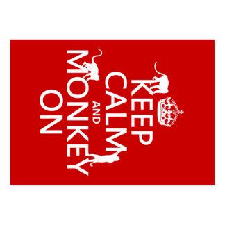 Guarde la calma y el mono encendido - todos los co tarjeta de visita
