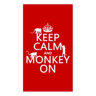 Guarde la calma y el mono encendido - todos los co plantillas de tarjetas de visita