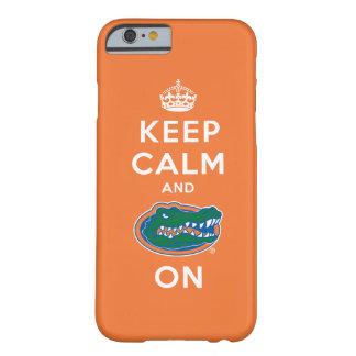 Guarde la calma y el naranja del cocodrilo funda para iPhone 6 barely there