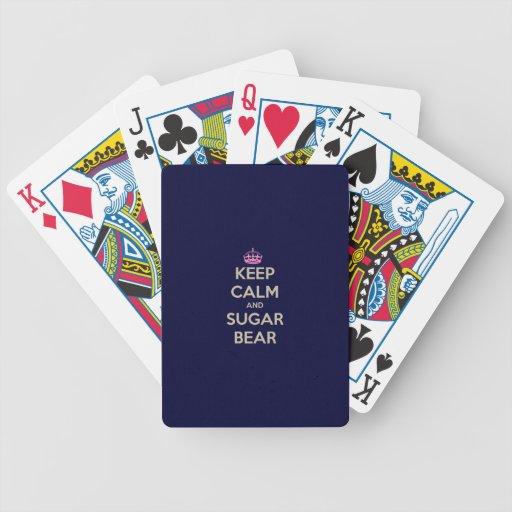 Guarde la calma y el oso del azúcar baraja de cartas