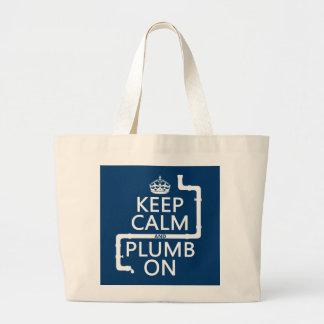 Guarde la calma y el plomo en (fontanero/la bolsa tela grande