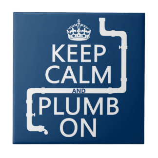 Guarde la calma y el plomo en (fontanero/la fontan azulejo cuadrado pequeño