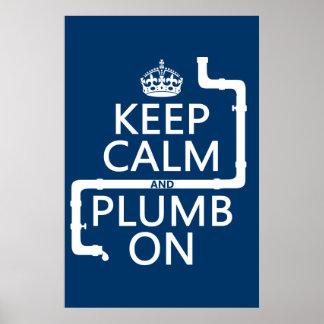 Guarde la calma y el plomo en (fontanero/la fontan póster