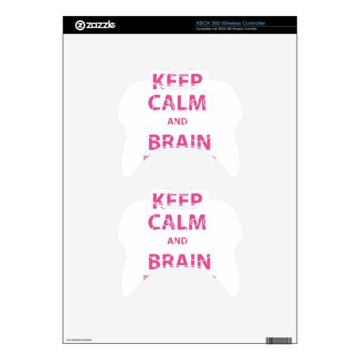 Guarde la calma y el poder mental mando xbox 360 calcomanía