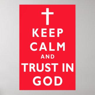 Guarde la calma y el poster de dios de la confianz