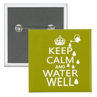 Guarde la calma y el pozo de agua pins