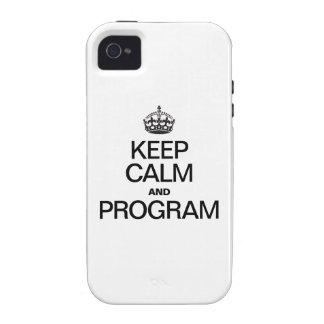 GUARDE LA CALMA Y EL PROGRAMA iPhone 4/4S FUNDA