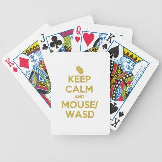 Guarde la calma y el ratón WASD Baraja De Cartas