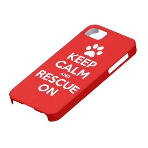 Guarde la calma y el rescate en el rescate animal iPhone 5 fundas