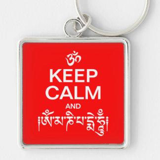 Guarde la calma y el ronquido de OM Mani Padme Llaveros Personalizados