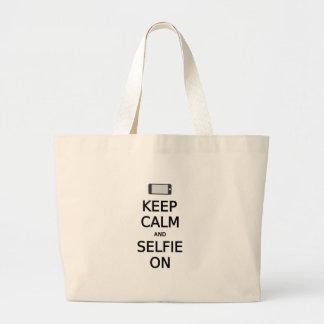guarde la calma y el selfie encendido bolsas lienzo