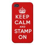 Guarde la calma y el sello en el caso de Iphone iPhone 4 Protectores