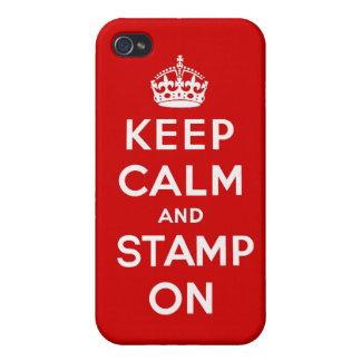 Guarde la calma y el sello en el caso de Iphone iPhone 4/4S Carcasas