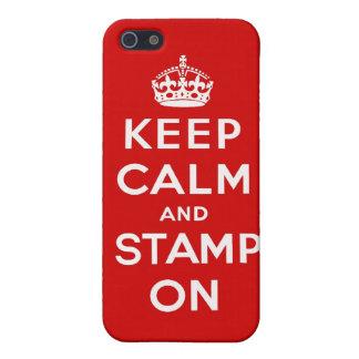 Guarde la calma y el sello en el caso de Iphone iPhone 5 Funda
