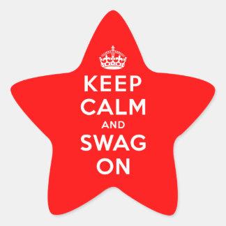 Guarde la calma y el Swag encendido Pegatina En Forma De Estrella
