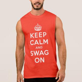 Guarde la calma y el Swag encendido Camiseta Sin Mangas