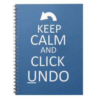 Guarde la calma y el tecleo para deshacer - el note book