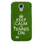 Guarde la calma y el tenis en (cualquier color de