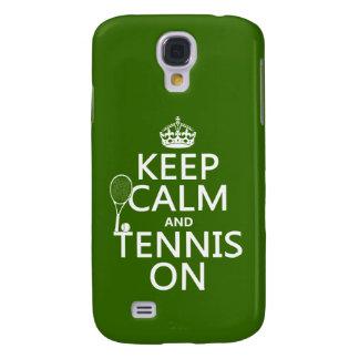 Guarde la calma y el tenis en (cualquier color de funda para samsung galaxy s4