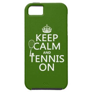 Guarde la calma y el tenis en (cualquier color de iPhone 5 fundas