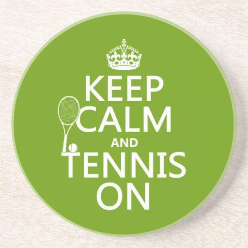 Guarde la calma y el tenis en (cualquier color de  posavasos para bebidas