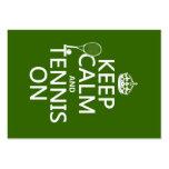Guarde la calma y el tenis en (cualquier color de  tarjeta de visita
