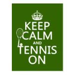 Guarde la calma y el tenis en (cualquier color de  postal