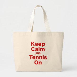Guarde la calma y el tenis encendido bolsa lienzo