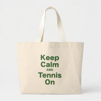 Guarde la calma y el tenis encendido bolsa de mano