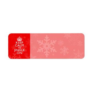 Guarde la calma y el tintineo en rojo etiquetas de remite