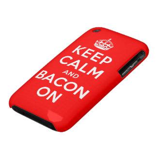 Guarde la calma y el tocino encendido Case-Mate iPhone 3 cobertura