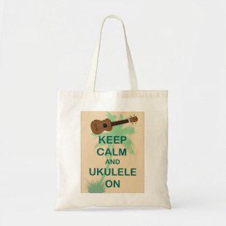 Guarde la calma y el Ukulele en la impresión origi Bolsa