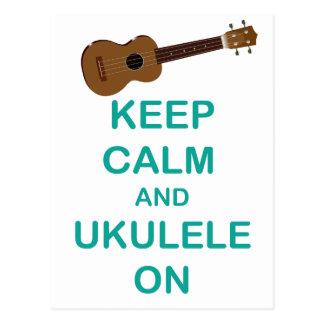 Guarde la calma y el Ukulele en la impresión única Postales