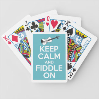 Guarde la calma y el violín en azul baraja de cartas bicycle