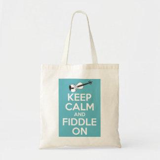 Guarde la calma y el violín en azul bolsa tela barata
