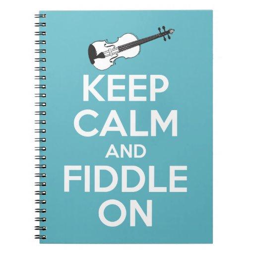 Guarde la calma y el violín en azul libro de apuntes