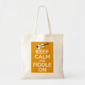 Guarde la calma y el violín en (el naranja) bolsa tela barata