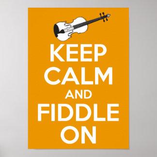 Guarde la calma y el violín en (el naranja) póster
