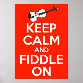Guarde la calma y el violín en rojo póster