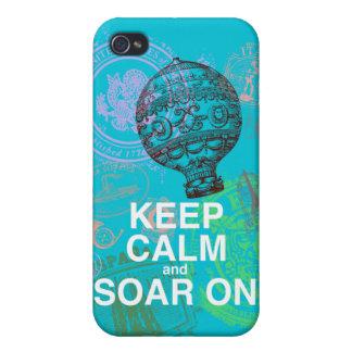 Guarde la calma y elévese en la impresión del arte iPhone 4 cárcasa