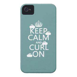 Guarde la calma y encréspese en (cualquier color) Case-Mate iPhone 4 fundas